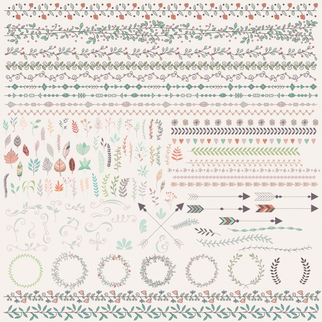 Coloured floral ornaments Free Vector