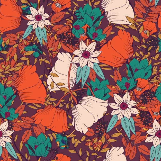 Coloured flowers pattern design Free Vector