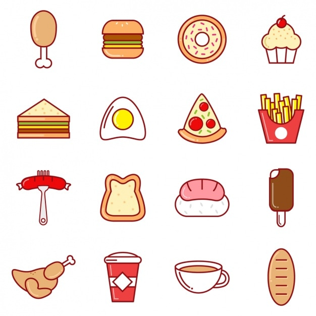Coloured food icons