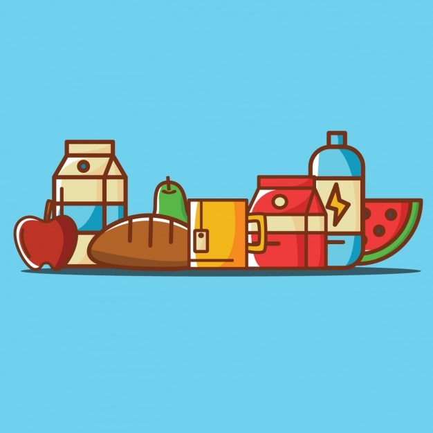 Coloured food illustrations Free Vector