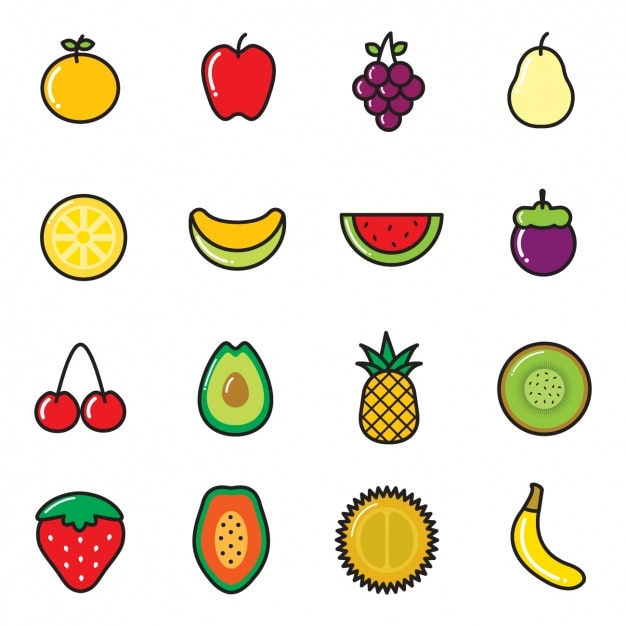 Coloured fruit icons Free Vector
