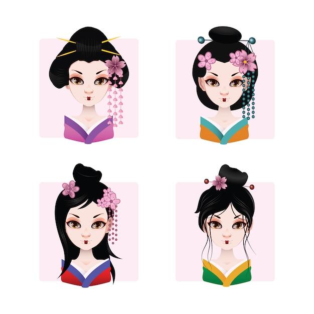Coloured geishas collection Free Vector