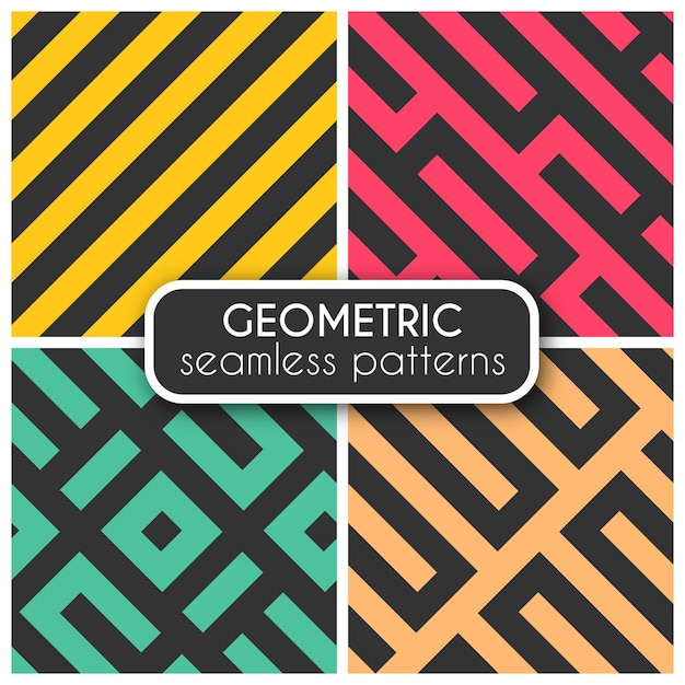 Coloured Geometric Seamless Patterns Free Vector