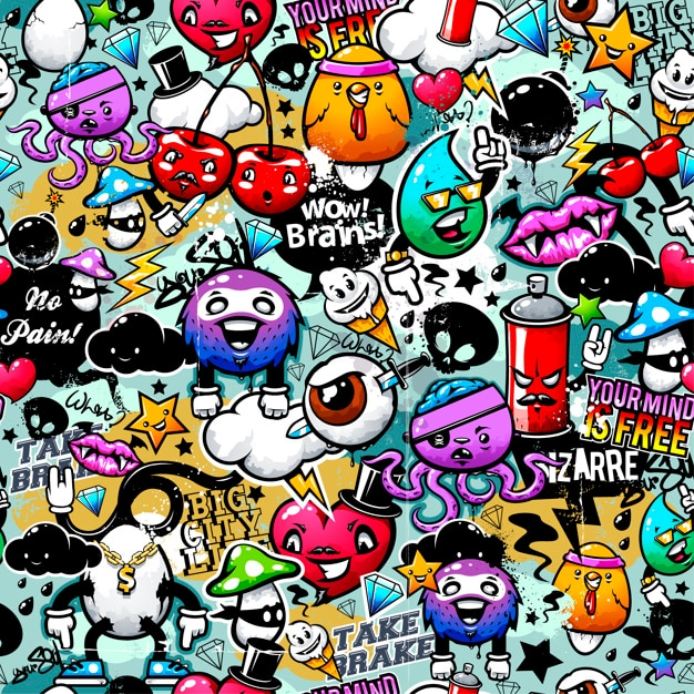 Coloured graffiti background Premium Vector