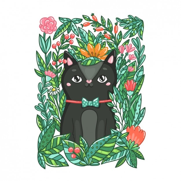 Coloured hand drawn cat Free Vector