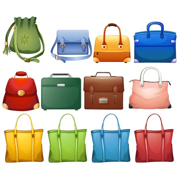 Coloured handbags collection Premium Vector