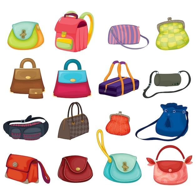Coloured handbags collection | Premium Vector