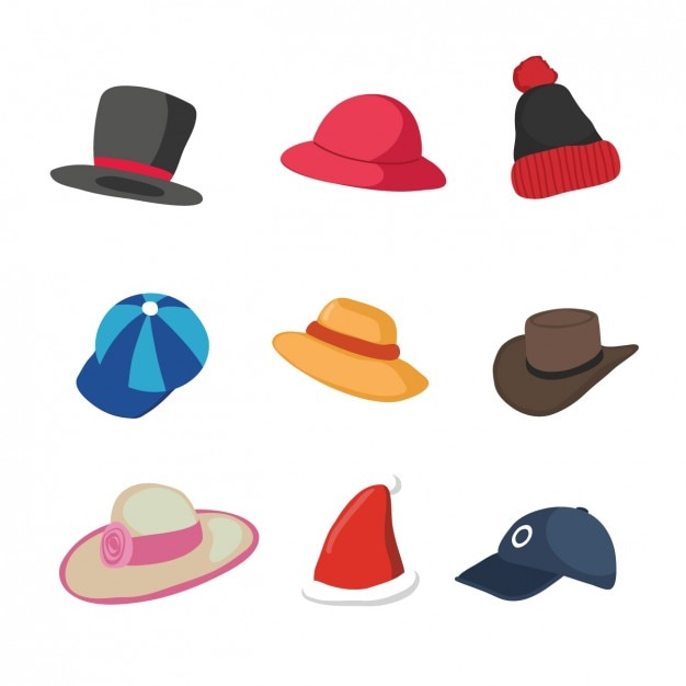 Coloured hats collection Free Vector