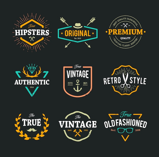 Coloured hipster logo collection Premium Vector