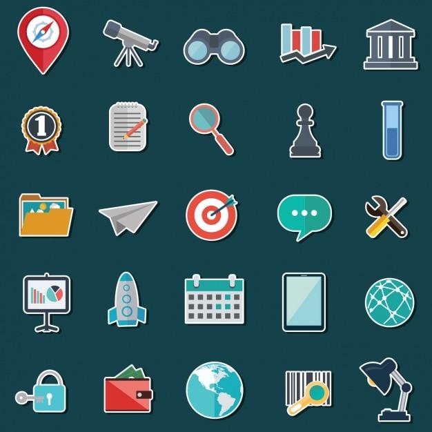 Icone collezione colorata Vettore gratuito