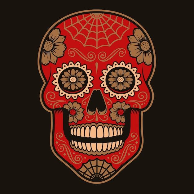 Цветные иллюстрации мексиканского сахарного черепа на темном фоне. каждый цвет находится в группе. Premium векторы