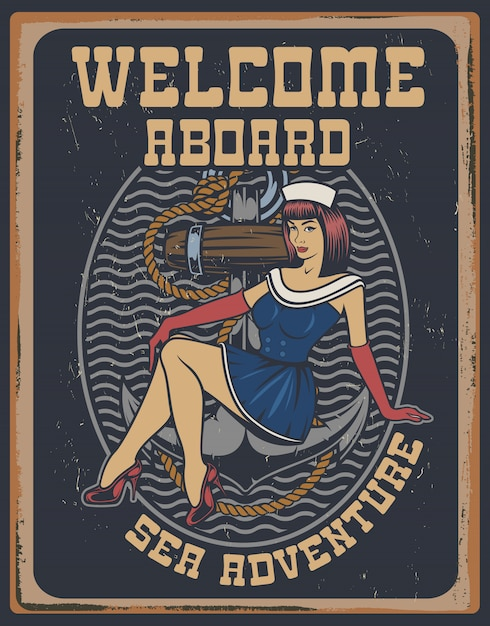 Coloured illustration with pin-up girl on a anchor in vintage style. Premium Vector