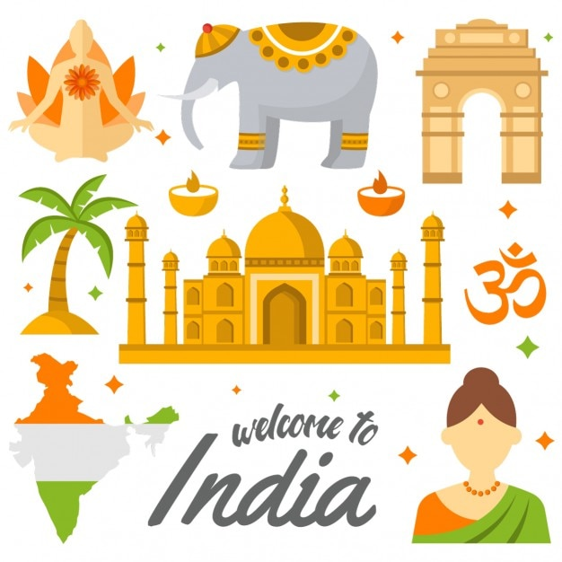 Coloured india elements Free Vector
