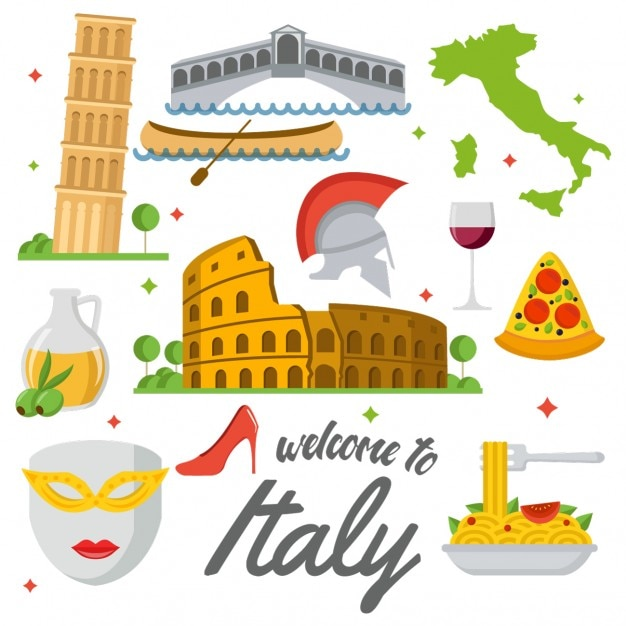 Coloured italy elements Free Vector