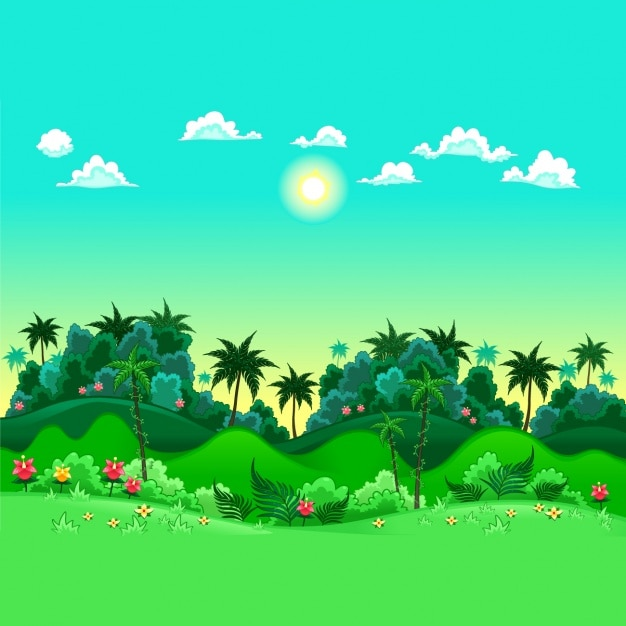 Coloured jungle background Free Vector