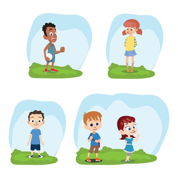 Coloured kids collection Vector | Free Download