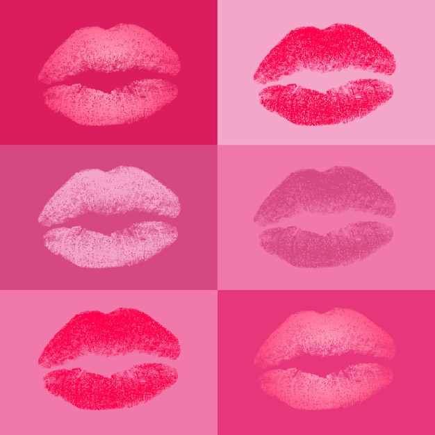 Coloured kisses collection Free Vector