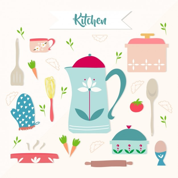 Coloured kitchen elements Free Vector
