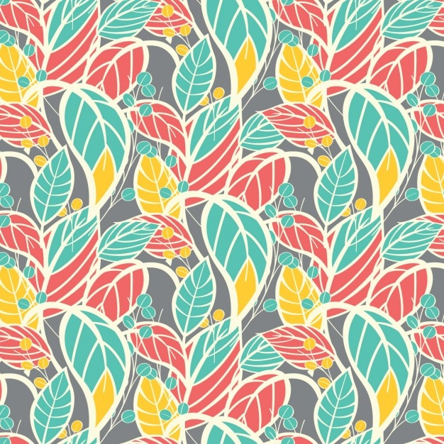 Coloured leafs pattern design Free Vector