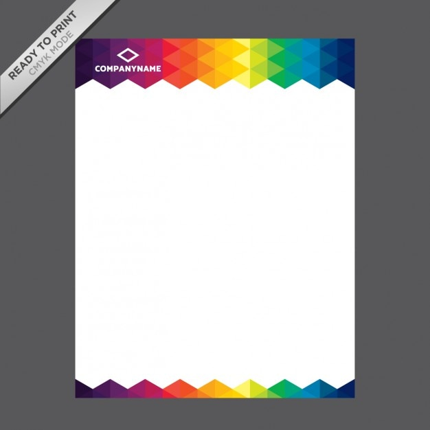Free Vector Printable Stationery Design Template: Coloured Letterhead Template Vector