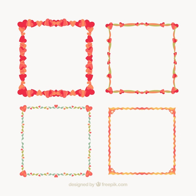 Coloured love frames Vector   Free Download