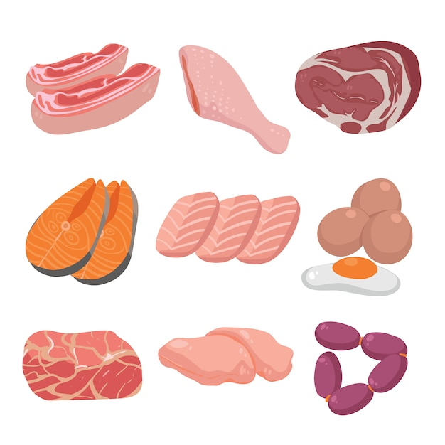 Coloured meat collection Free Vector