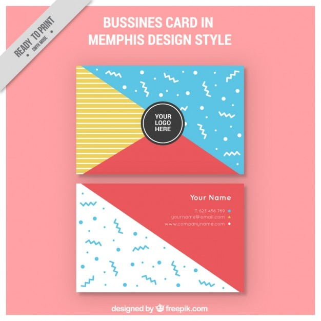 Coloured memphis style business card vector free download for Business cards memphis