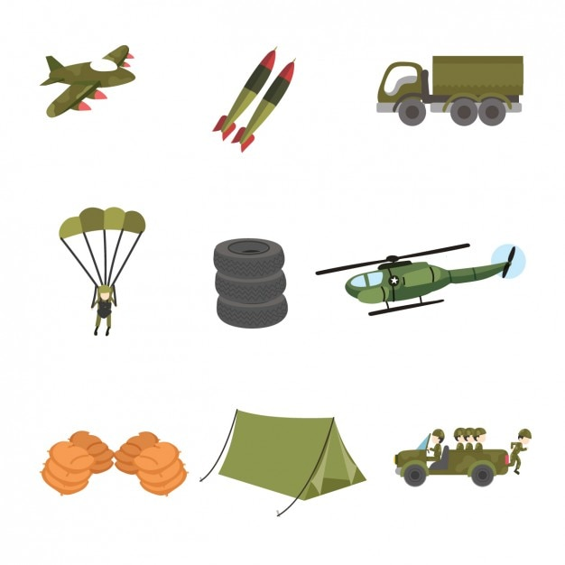 Coloured military designs Free Vector