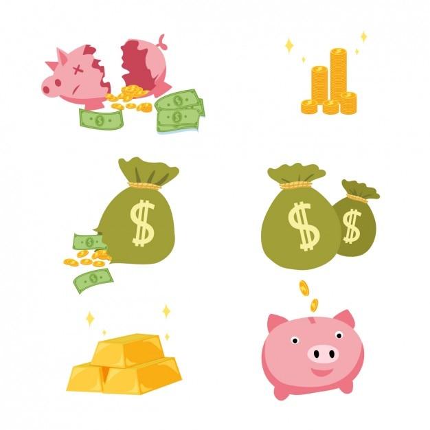 Coloured money elements designs