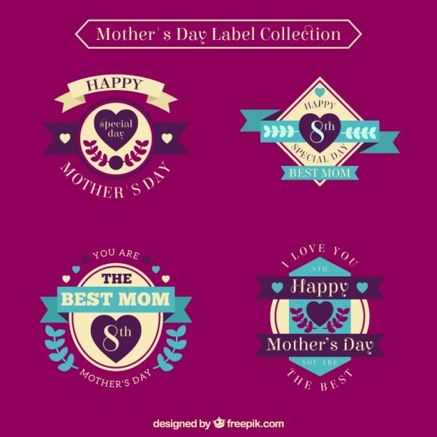 Coloured mother\'s day labels collection