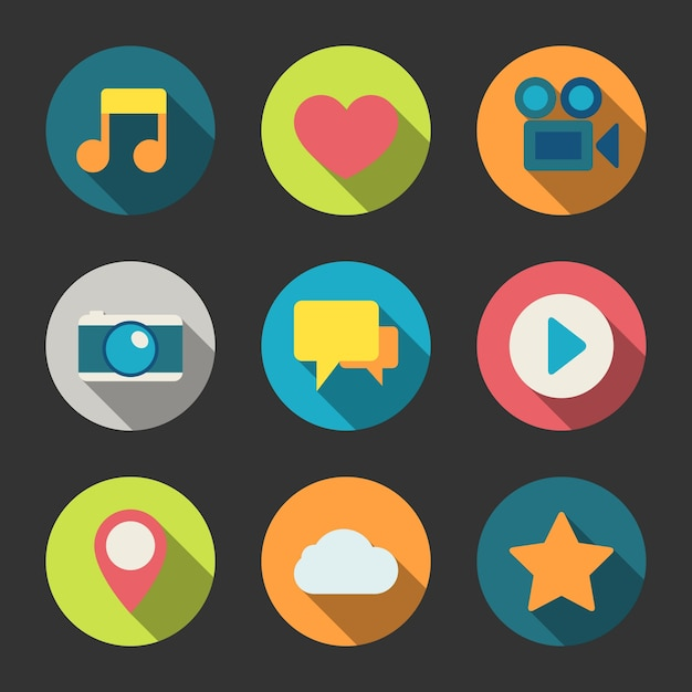 Coloured multimedia icons Vector | Free Download