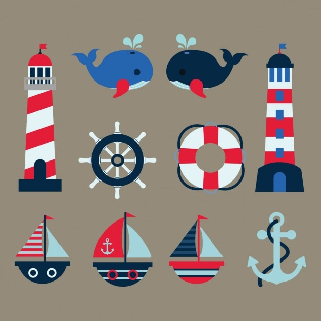 Coloured nautical elements Free Vector