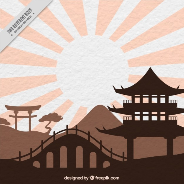 Coloured oriental landscape Free Vector