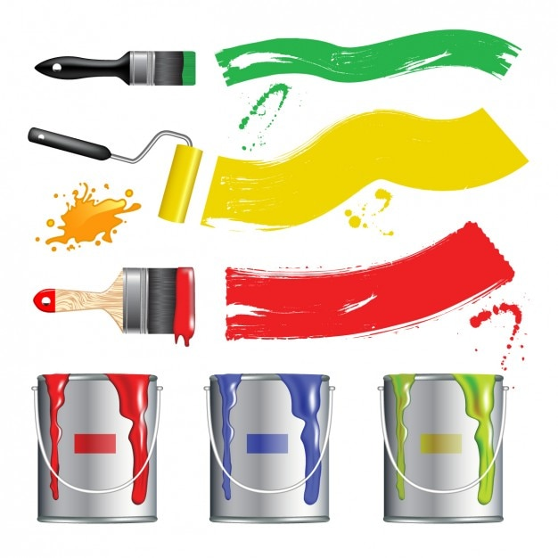 Coloured paint buckets design Free Vector