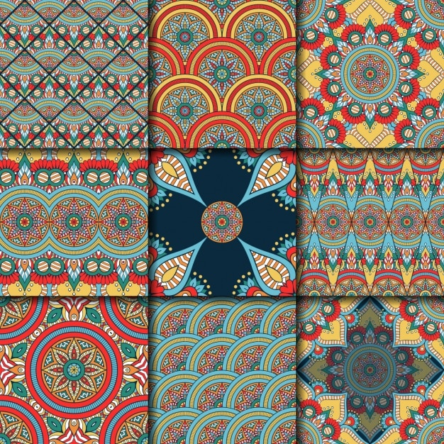Coloured patterns collection Free Vector