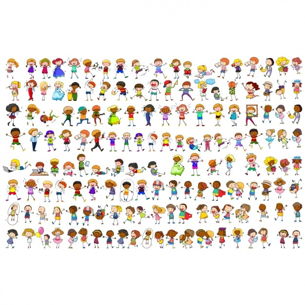 Coloured people collection Premium Vector