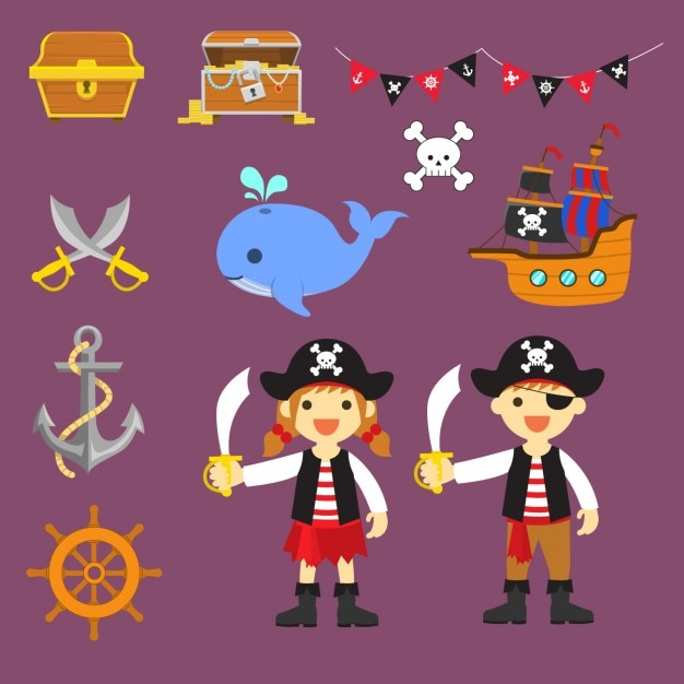 Coloured pirate elements Free Vector