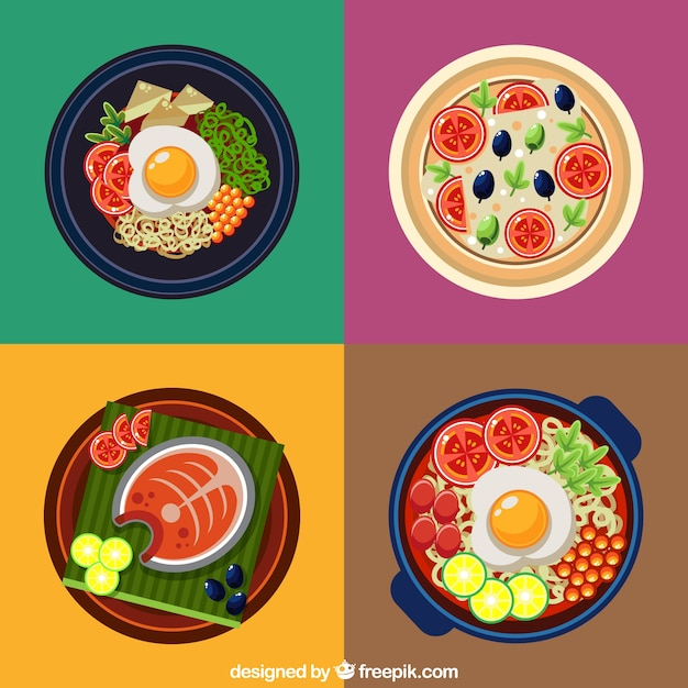 Coloured plates of food design Free Vector