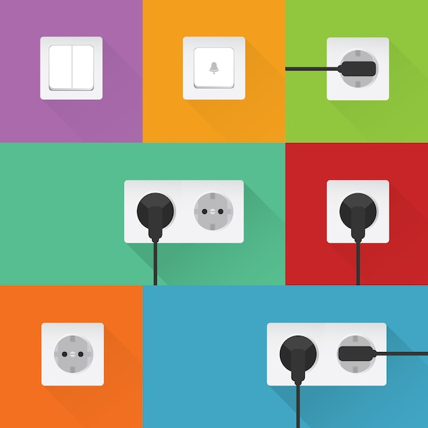Coloured plugs collection Free Vector