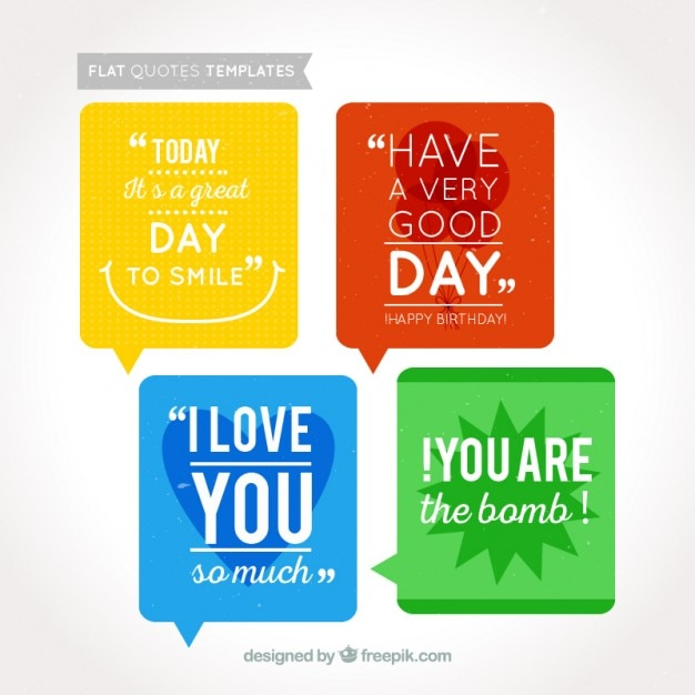 Coloured Quotes Templates Free Vector