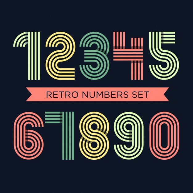 Coloured retro numbers set Vector | Free Download