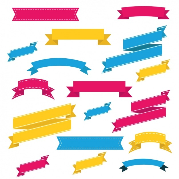 Coloured ribbons collection Free Vector