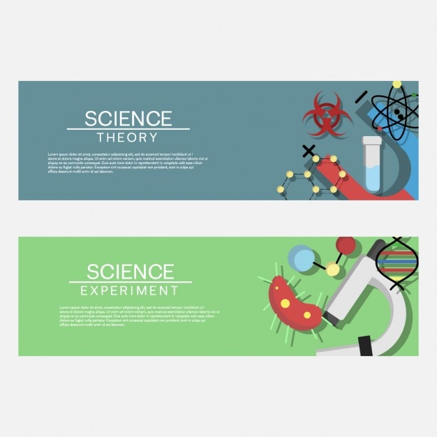 coloured science banners vector free download