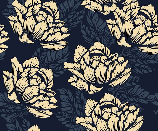 Coloured seamless floral pattern on the dark background. ideal for printing on fabric. Premium Vector