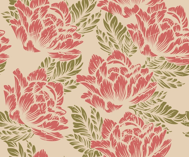 Coloured seamless floral pattern on on a light background. ideal for printing on fabric. Premium Vector