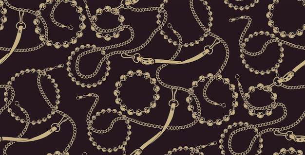 Coloured seamless pattern of chains on the dark background. ideal for printing on fabric. Premium Vector