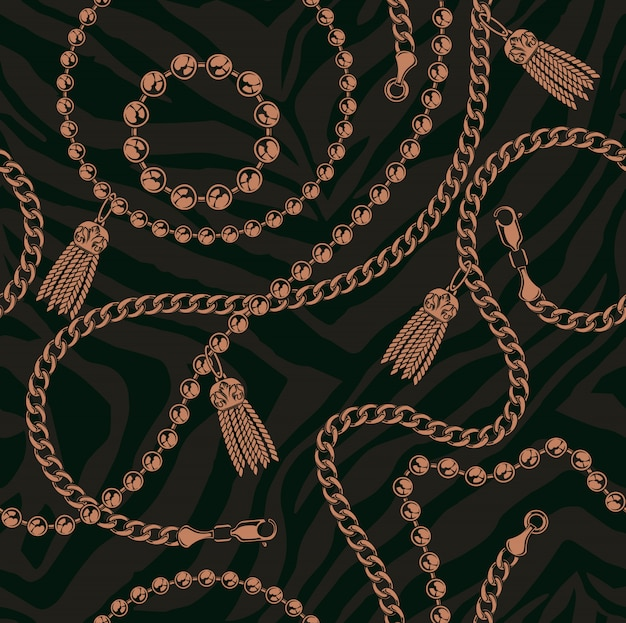 Coloured seamless pattern of chains on a dark background. Premium Vector