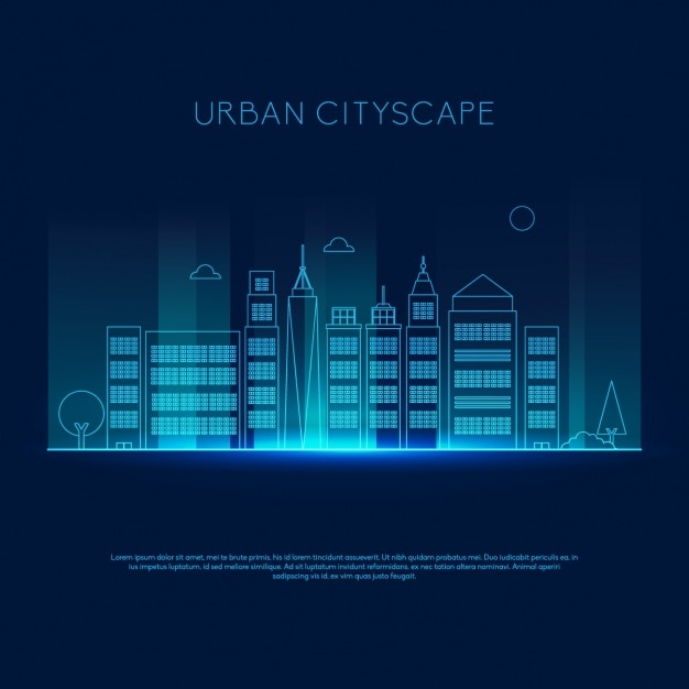 Coloured skyline design Free Vector