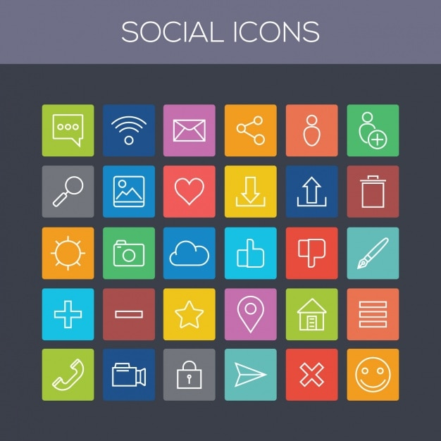Coloured social icons collection Free Vector