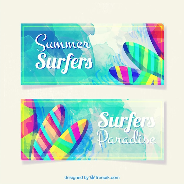 Coloured summer banners Free Vector